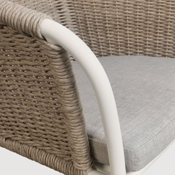 Becki Wicker And Aluminum Dining Chair Closeup