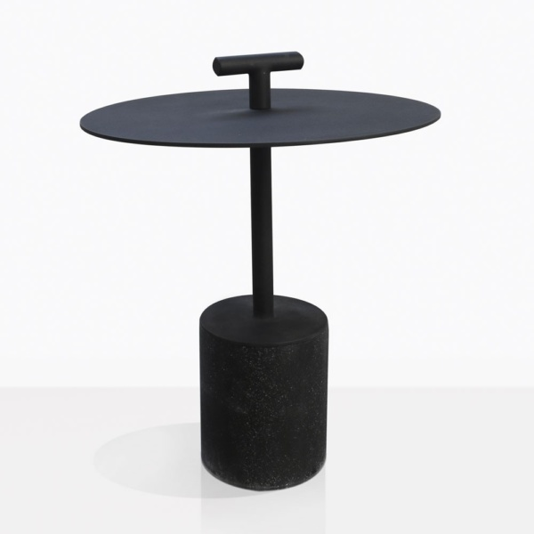 Flight Black Concrete And Steel Accent Table