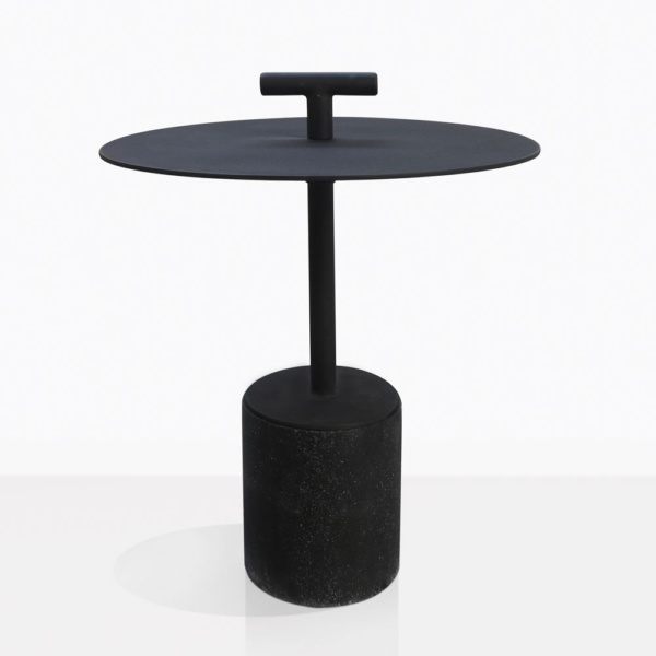 Flight Black Concrete And Steel Accent Table Straight On
