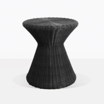 Jak Black Round Outdoor Wicker Side Table