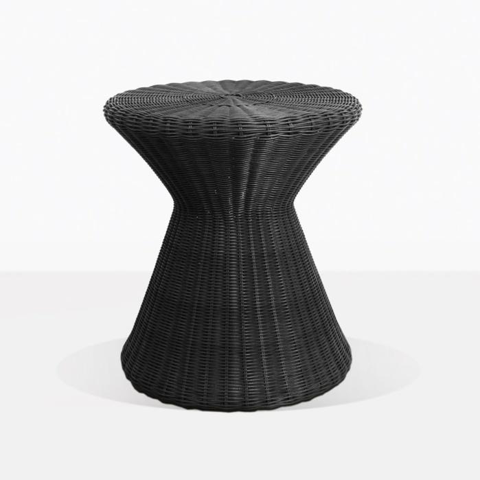 Jak Black Round Outdoor Wicker Side Table
