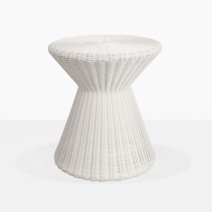 Jak White Wicker Side Table