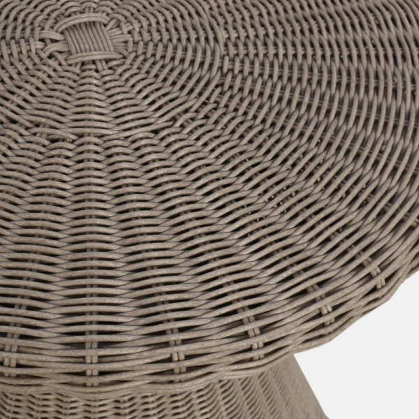 Jak Taupe Wicker Side Table Closeup