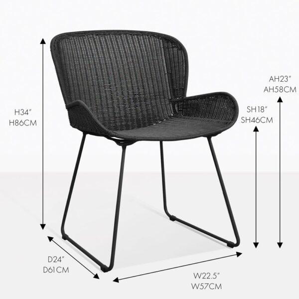 niarobi pure black wicker outdoor dining armchair