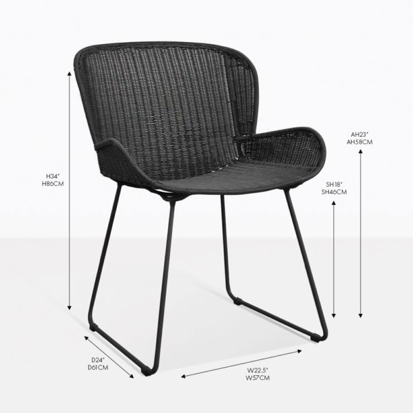 Nairobi pure black outdoor wicker dining arm chair
