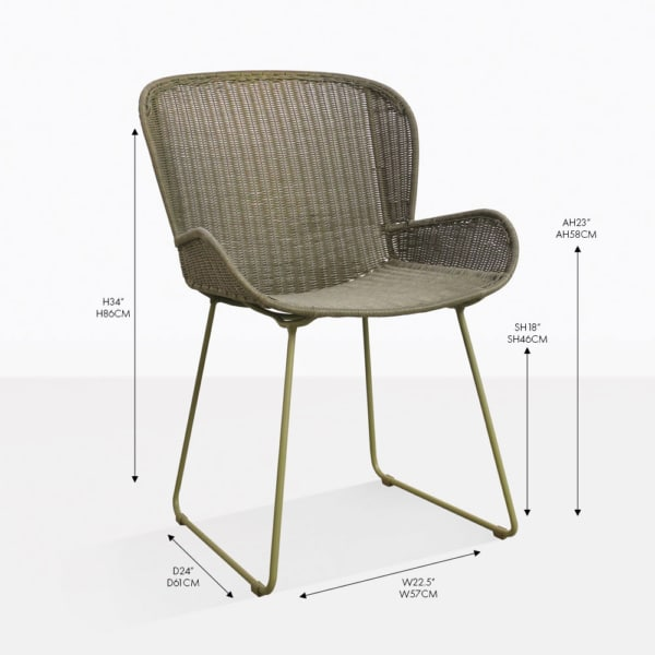 Nairobi pure moss outdoor wicker dining arm chair