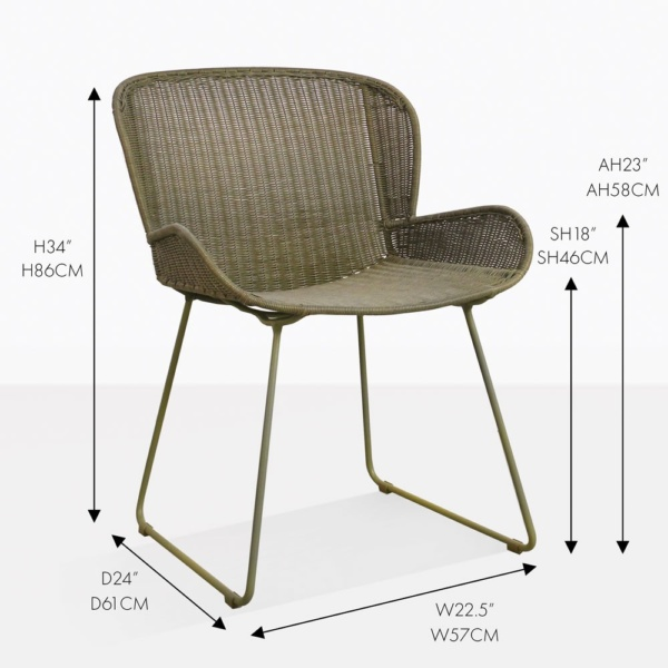 niarobi pure moss wicker outdoor dining armchair