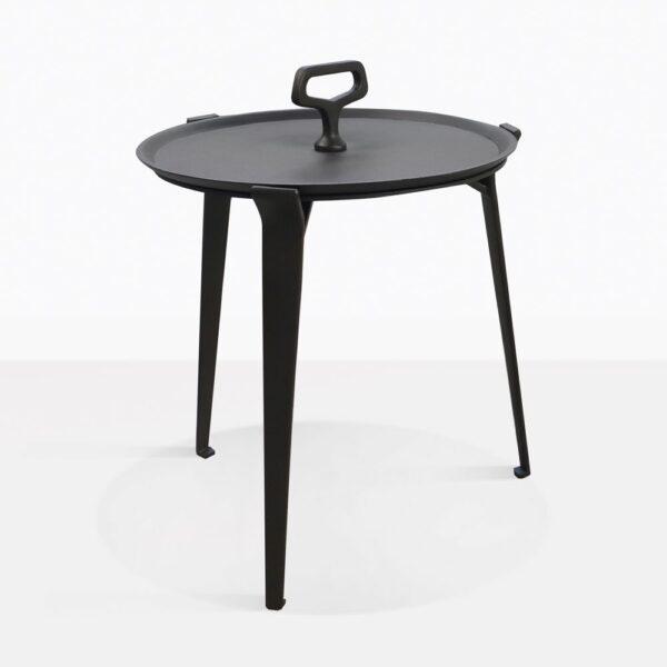 Peppi Black Aluminum Accent Table