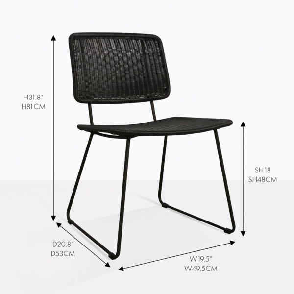 polly dining chair black wicker outdoor measurements