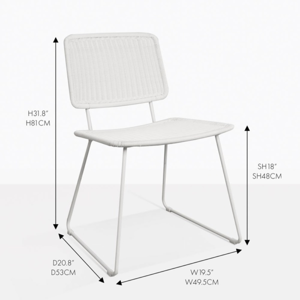 polly dining chair white wicker outdoor measurements