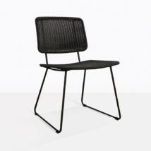 Polly Black Wicker Outdoor Dining Side Chair