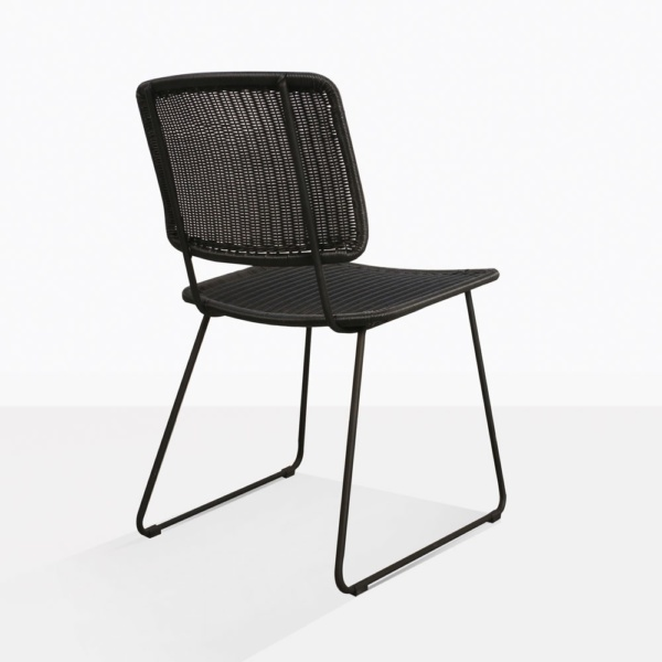 Polly Modern Black Wicker Dining Chair Back