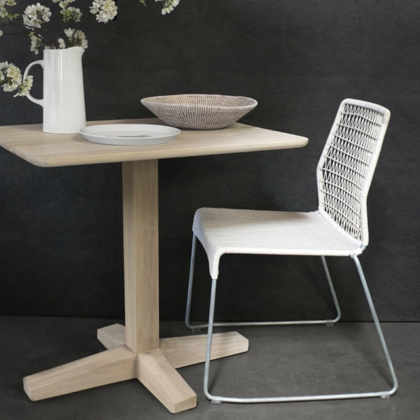 Shelli Teak Dining Table With Edge White Wicker Chair