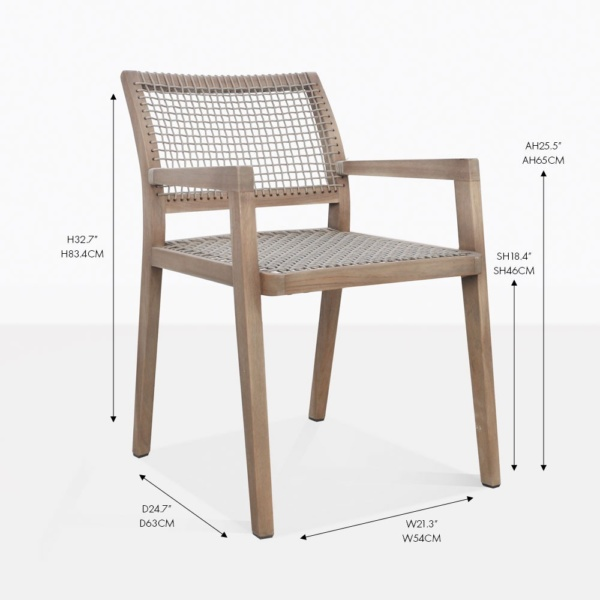 gazzoni reclaimed teak rope arm dining chair