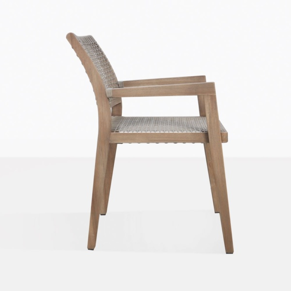 Gazzoni Teak And Rope Dining Chair Side