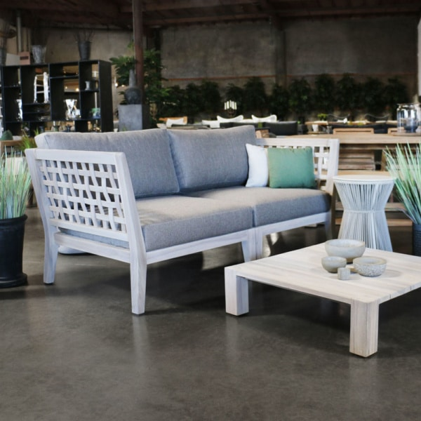 Masello Teak Corner Chairs Together As Loveseat