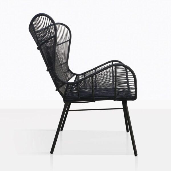 Nairobi Wing Black Wicker Chair Side