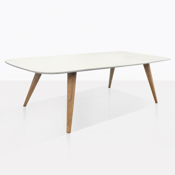 Natural Concrete And Teak Dining Table