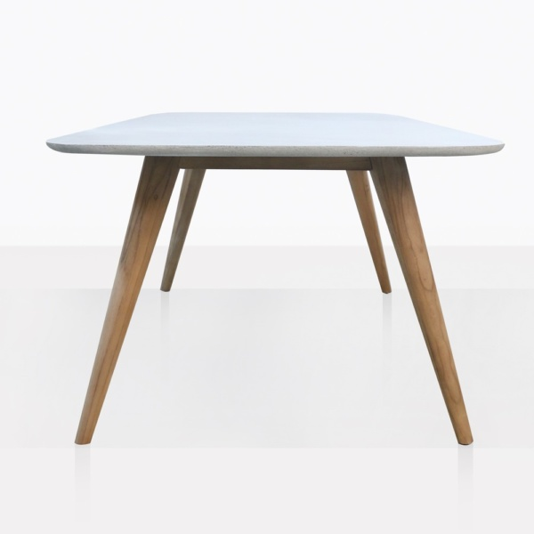 Natural Concrete And Teak Dining Table Side