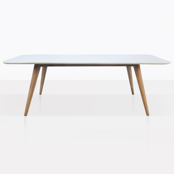 Natural Concrete And Teak Dining Table Straight