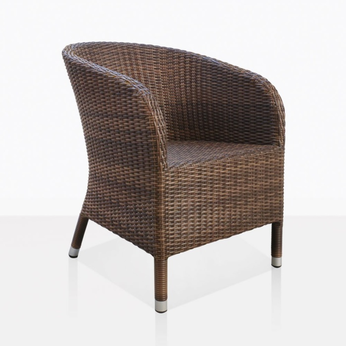 Safari Brown Wicker Dining Chair Angle