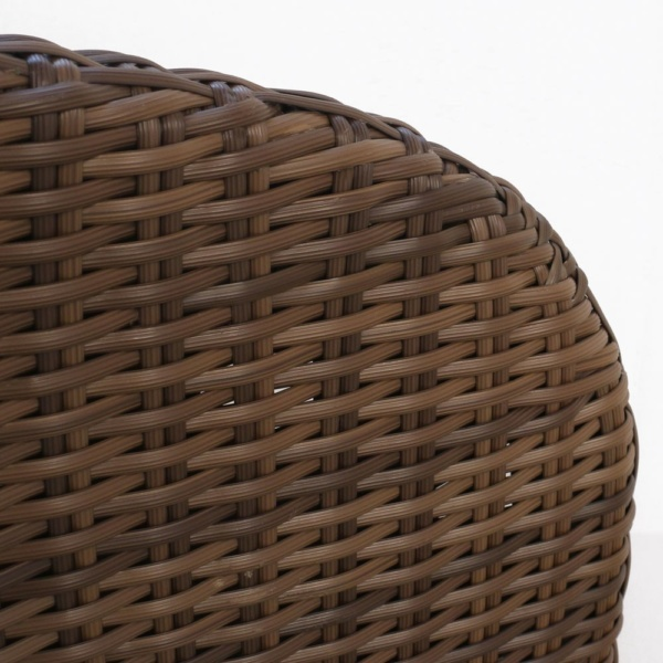 Safari Brown Wicker Dining Chair Closeup