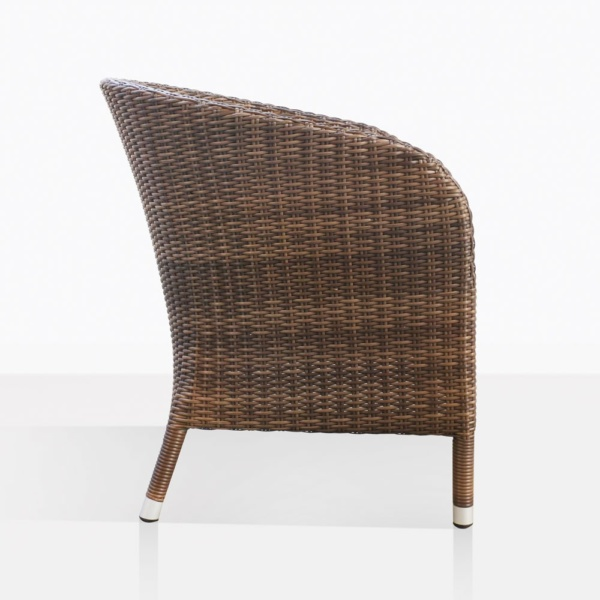 Safari Brown Wicker Dining Chair Side