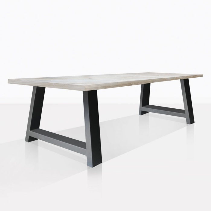 Santa Fe Teak And Aluminum Outdoor Dining Table Black 118