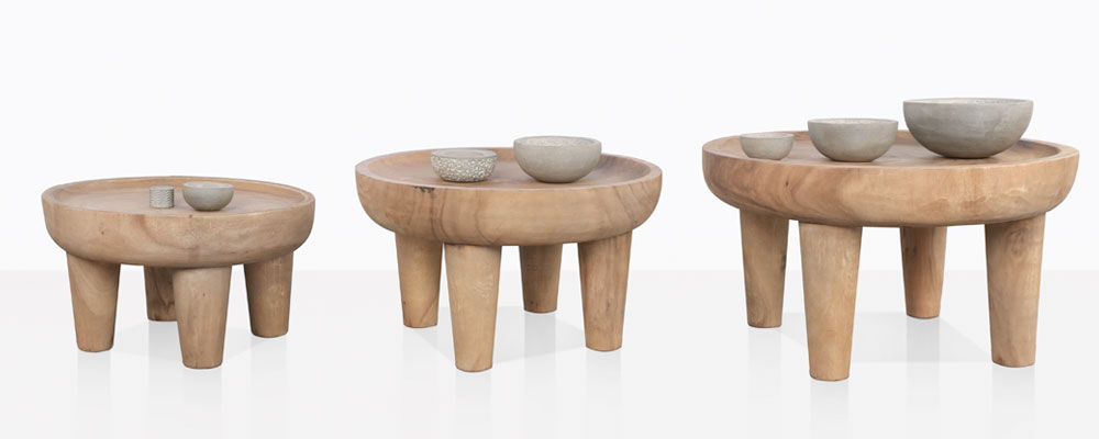African Safari Coffee Tables With Concrete Accessories