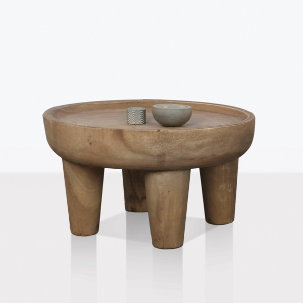 African Teak Round Coffee Table Small