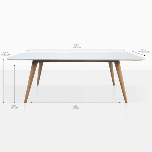 natural rectangular concrete dining table