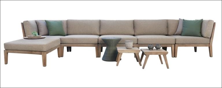 Gazzoni Teak And Rope Sectional Sofa