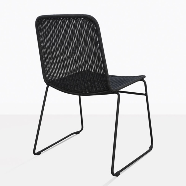 Olivia Black Wicker Dining Side Chair Back