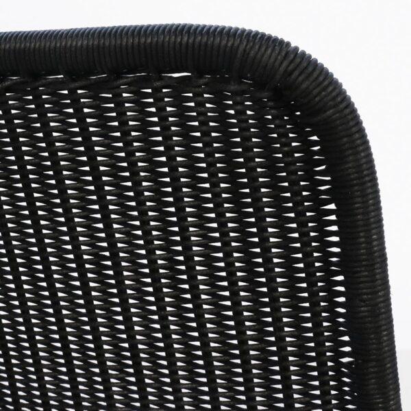 Olivia Black Wicker Dining Side Chair Closeup