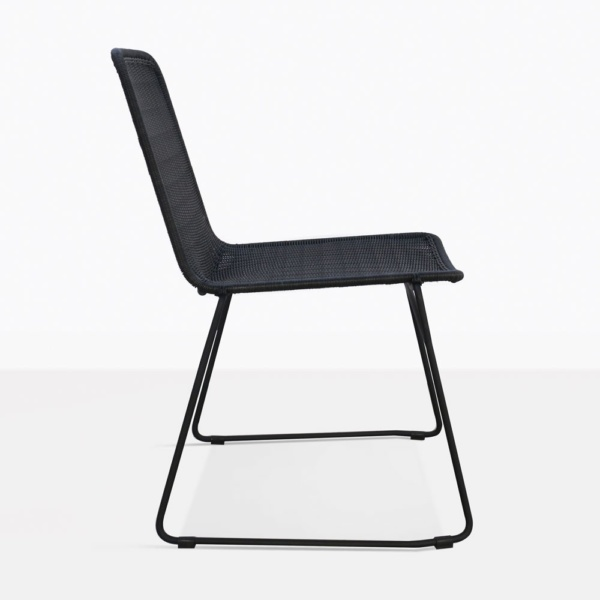 Olivia Black Wicker Dining Side Chair Side