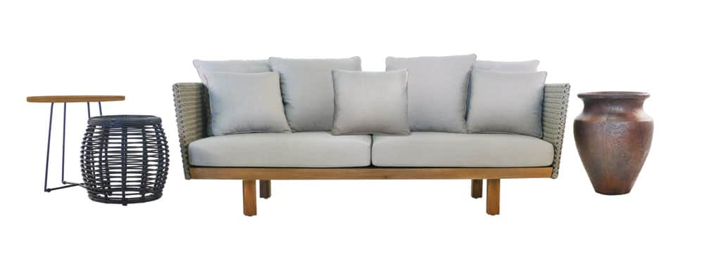 Brazil Teak And Rope Sofa With Cushions