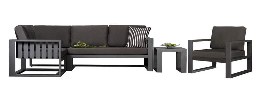 Mykonos Aluminim Sectional Sofa And Club Chair