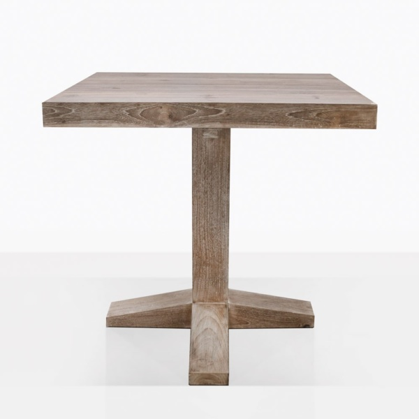Cube Reclaimed Teak Bistro Dining Table Straight On