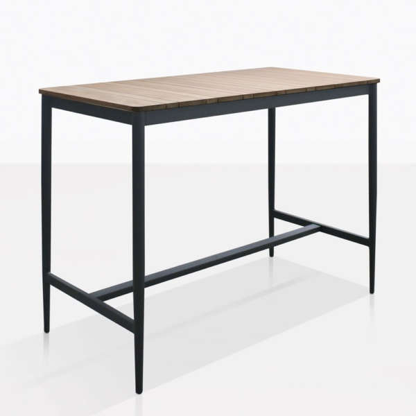 Noble Teak And Aluminum Bar Table - modern outdoor furniture la