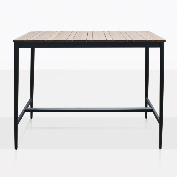 Noble Teak And Aluminum Rectangular Bar Table