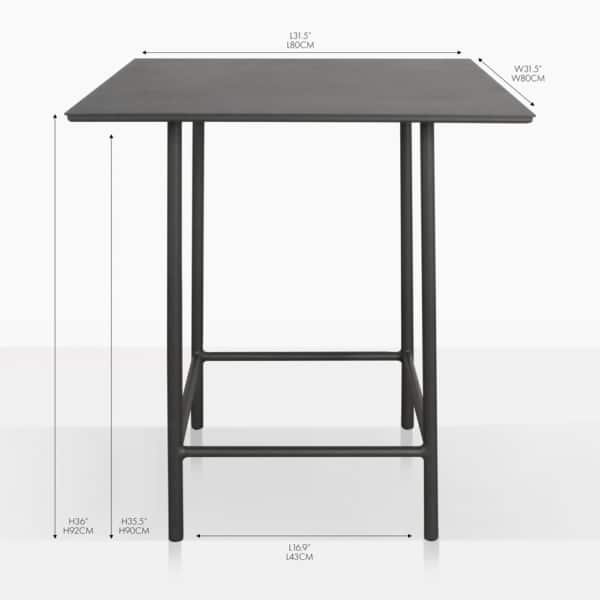 Urban counter aluminum table