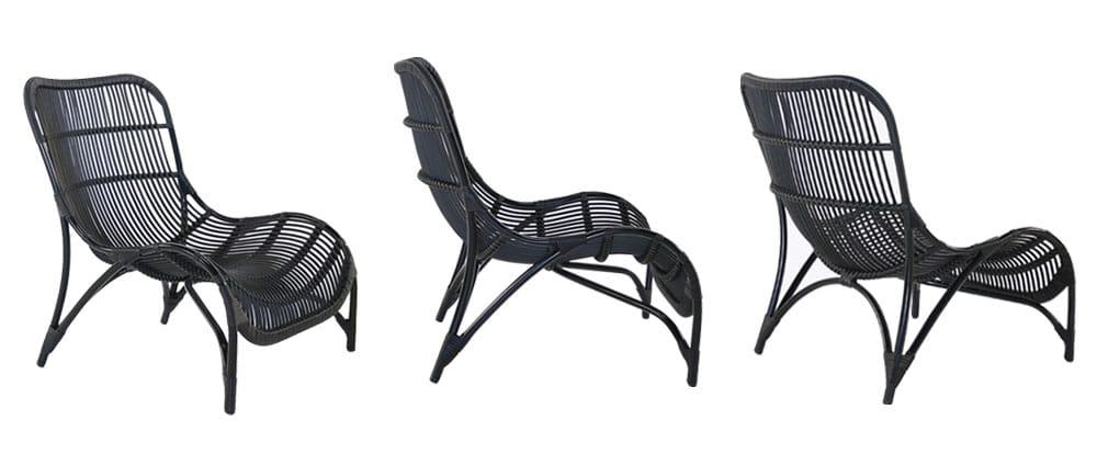 Black Elle Wicker Relaxing Chairs
