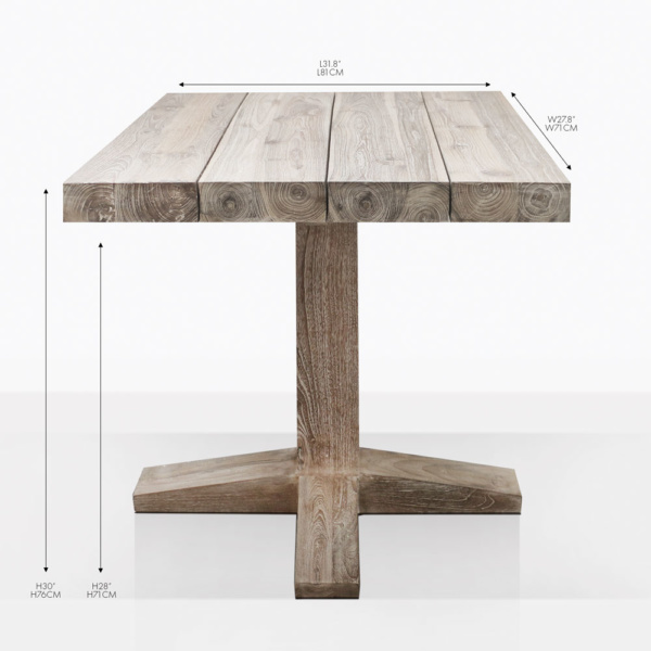 cube teak square bistro table