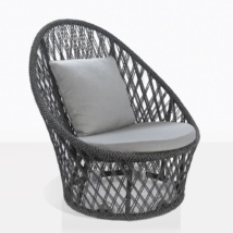Sunai Open Weave Swivel Chair in Charcoal