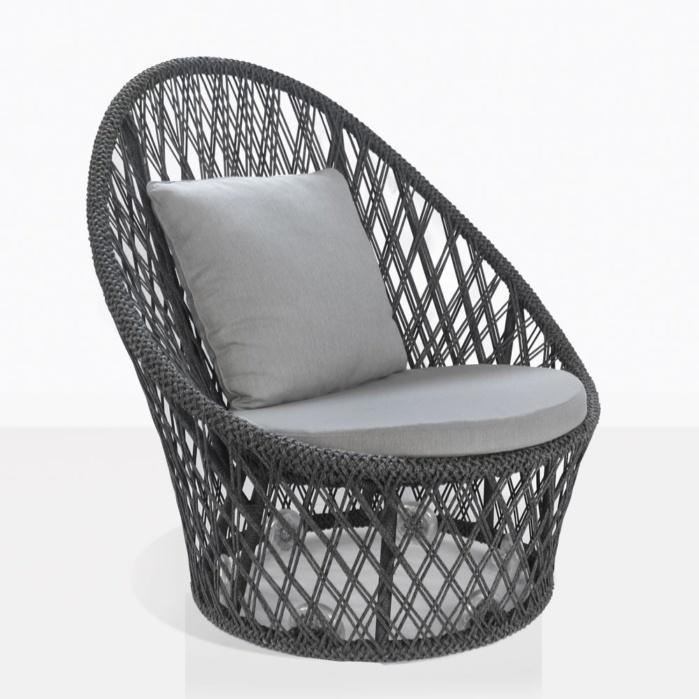 Sunai Open Weave Swivel Chair in Charcoal