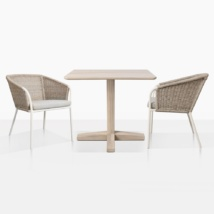 Shelli Teak Dining Table And 2 Becki Wicker Chairs