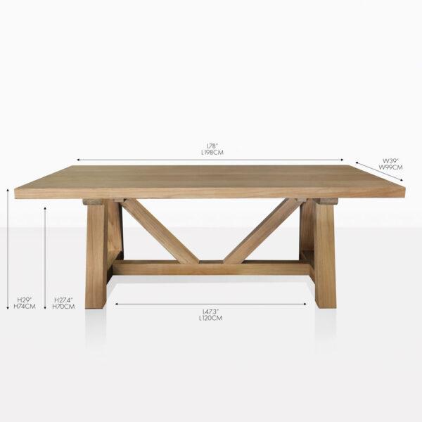 Devon teak outdoor dining table
