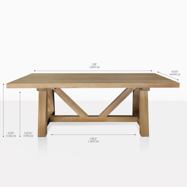Devon teak outdoor dining table