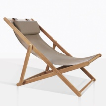 Folding Teak Sling Chair With Mesh Seat