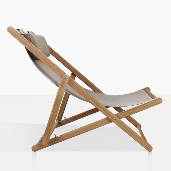 Sling Teak And Mesh Folding Chair Side